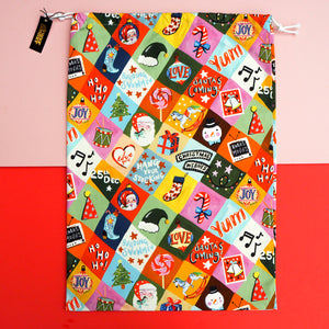 *SALE* Personalised Festive Patchwork Personalised Christmas Sack