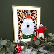 Load image into Gallery viewer, Personalised Christmas Leopard Print Bear