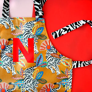 Children's Personalised Initial Jungle Oilcloth Wipe Clean Apron