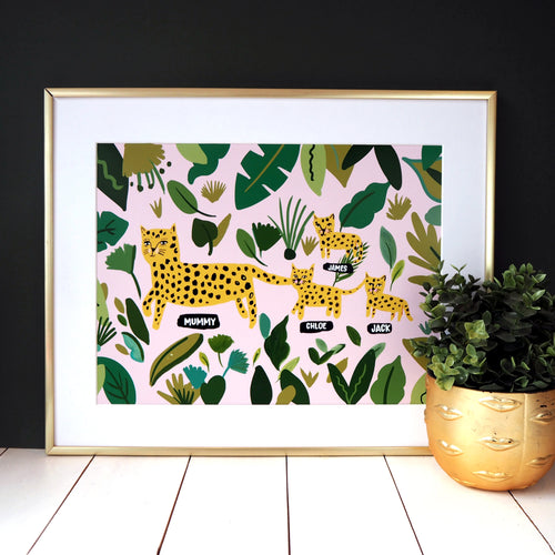 Mummy Leopard and Cubs Print