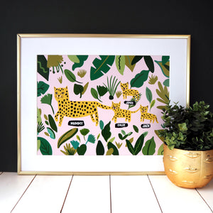 Leopard Family Personalised Print