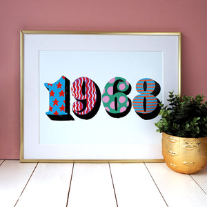 POP Numbers Personalised Date Print Horizontal