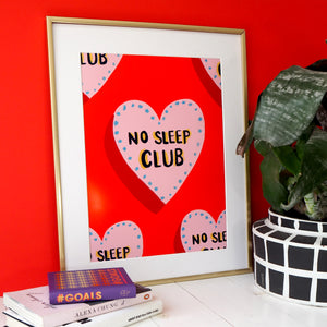 No Sleep Club Pattern Print