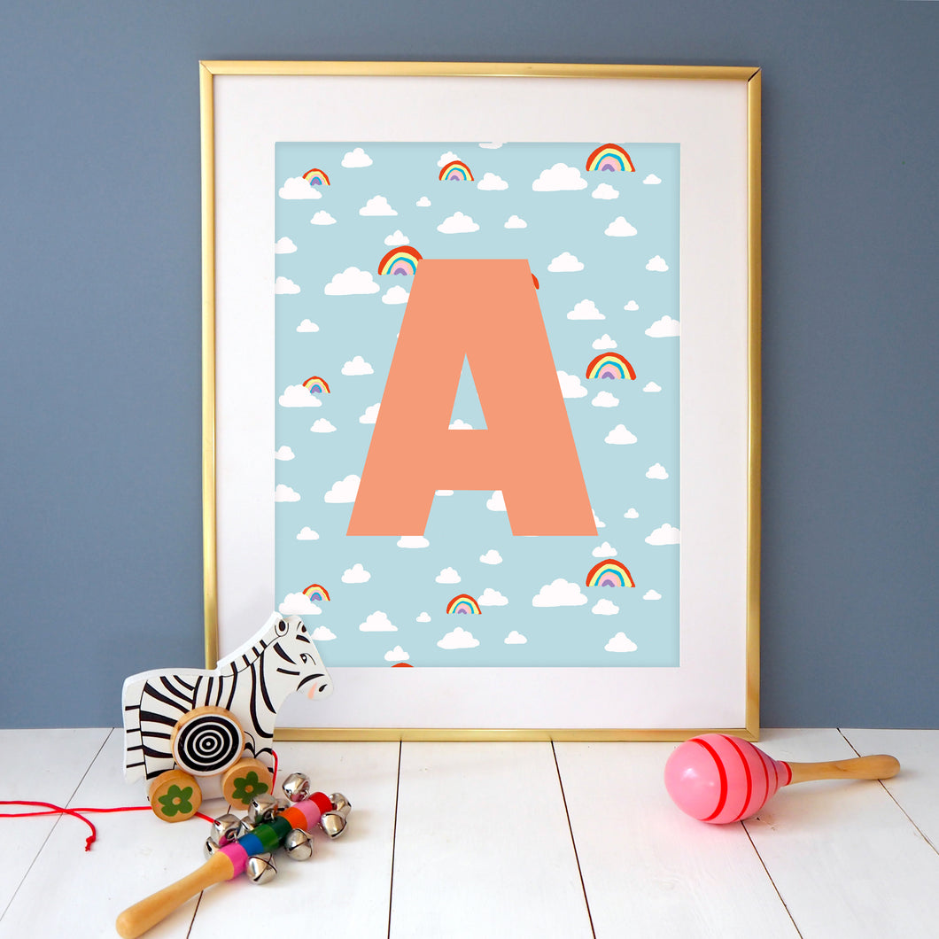 Rainbow Cloud Personalised Initial Print