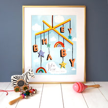 Load image into Gallery viewer, Hey Baby Mobile Personalised Print