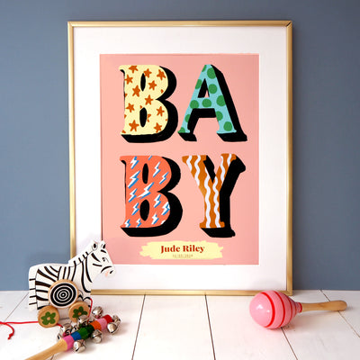 Eleanor Bowmer coral personalised print with patterned BABY text