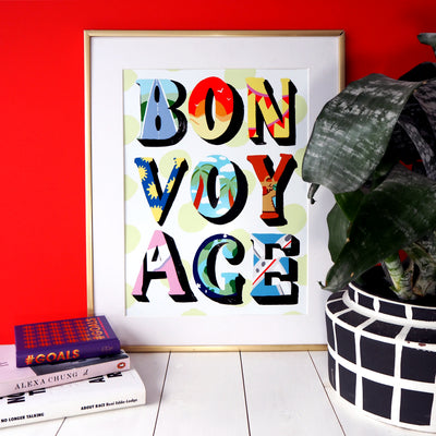 Eleanor Bowmer patterned letters bon voyage gold foil dot artwork print