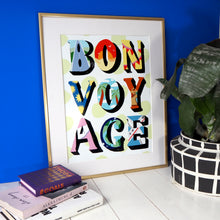 Load image into Gallery viewer, Eleanor Bowmer patterned letters bon voyage gold foil dot artwork print