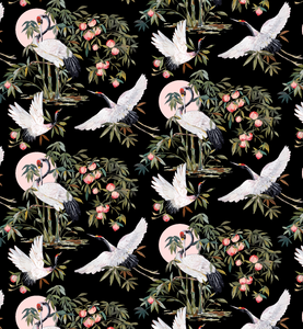 Elegant Cranes in Midnight Wallpaper Sample