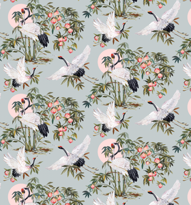 Elegant Cranes Wallpaper in Powder