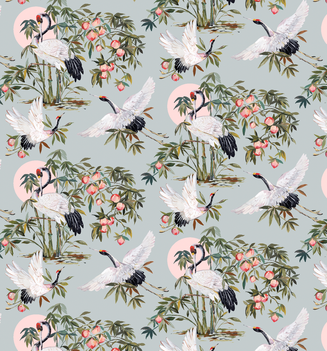 Elegant Cranes in Powder Wallpaper Sample