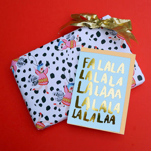 Falalalala Carol Gold Foiled Christmas Card