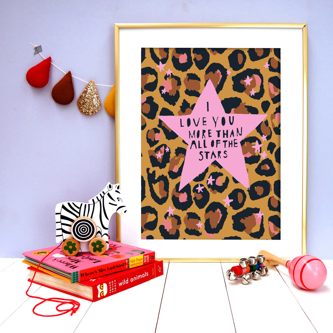 Leopard Love You Stars Pink
