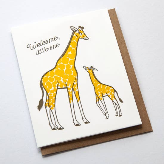 Cream greeting card with yellow mom and baby giraffe