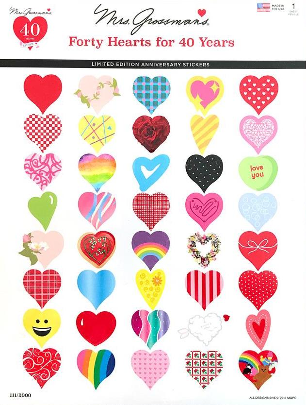 40th Anniversary Mrs. Grossman's Hearts | Stickers