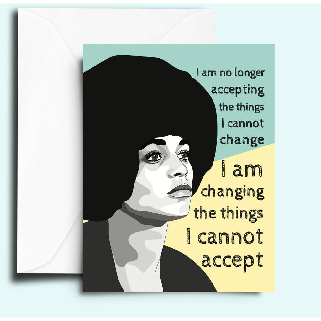 Greeting card with image of Angela Davis and quote