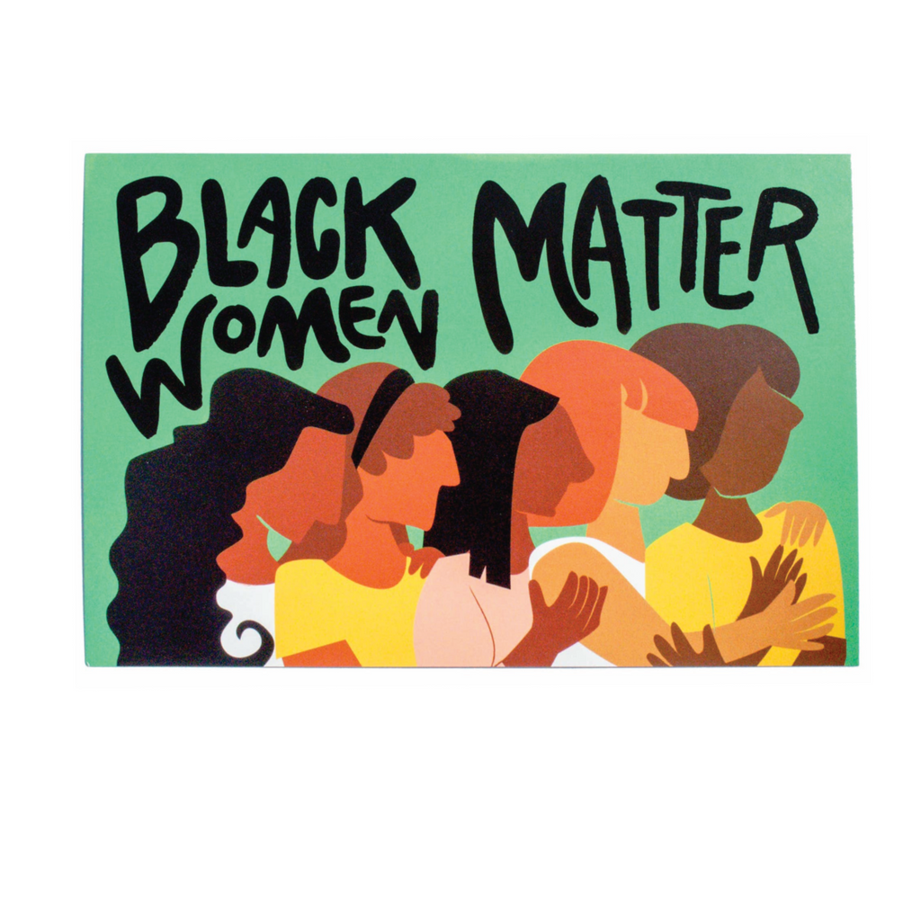 Black Women Matter Protest Postcard with illustration of women of color