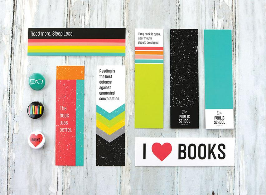 set of vibrant bookmarks with fun librarian sayings