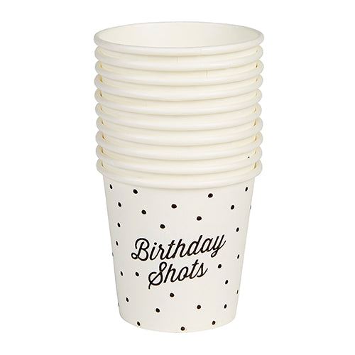 stack of paper birthday shot glasses with polkadots