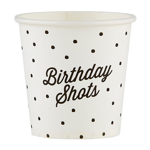 happy birthday paper shot glass with black polkadots