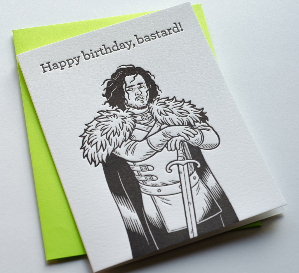 Jon Snow Birthday | Letterpress Card