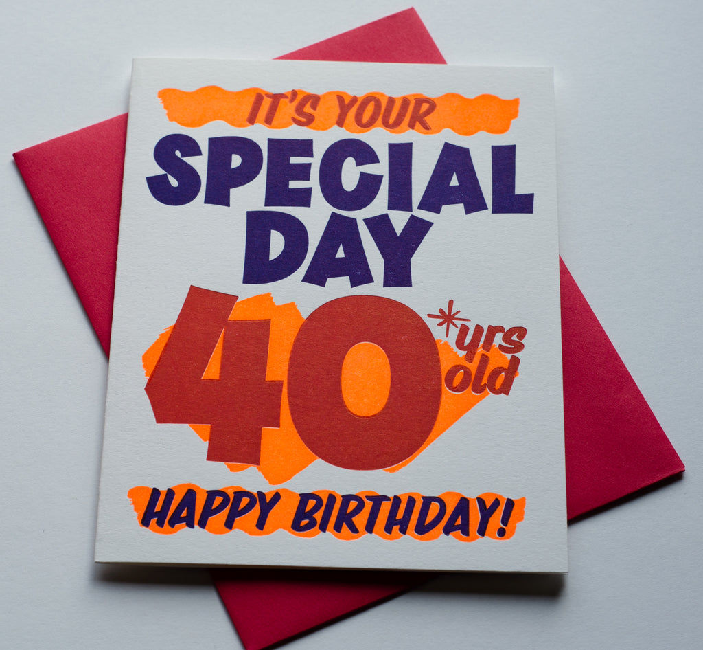 Grocery 40 Sign | Letterpress Card