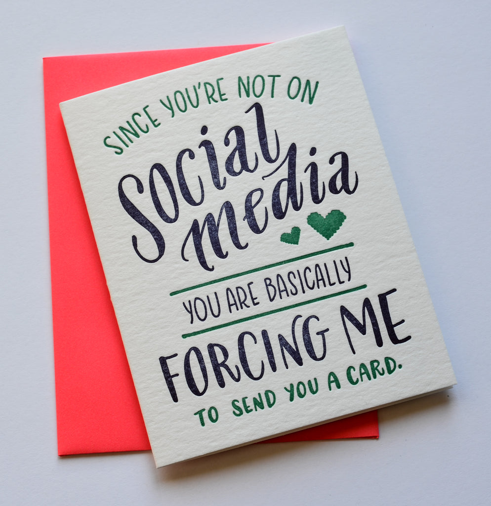 No Social Media | Letterpress Card