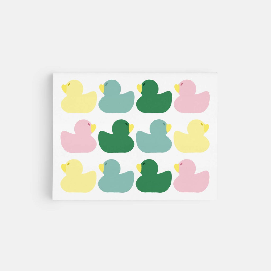 Rubber Duck Pattern Greeting Card in pastel colors