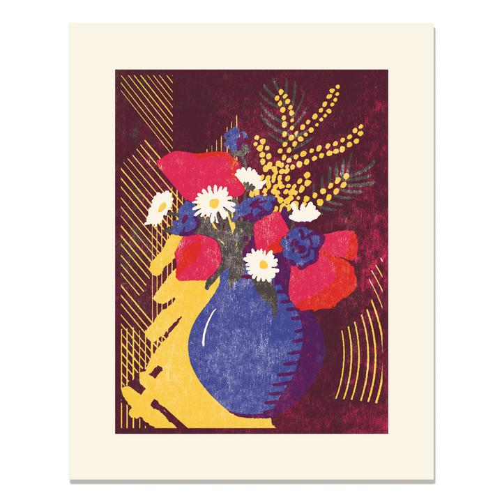 Letterpress print of blue vase with red blue and white flowers on brown and yellow back drop