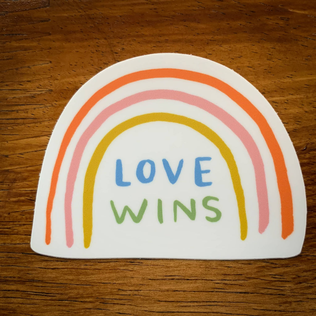 love wins rainbow sticker with pastel arches