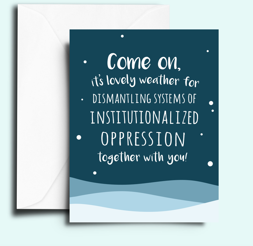 Christmas holiday card with blue snowy background and protest slogan