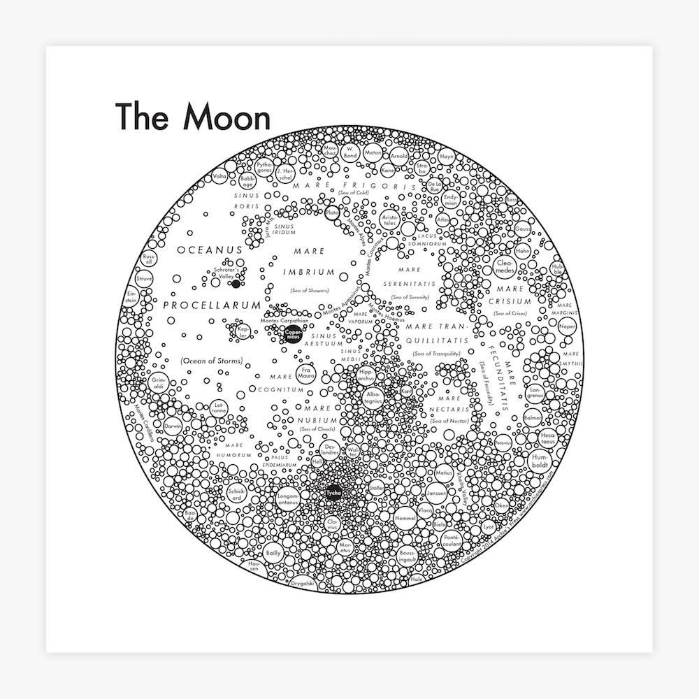 Moon Map | Letterpress Art Print