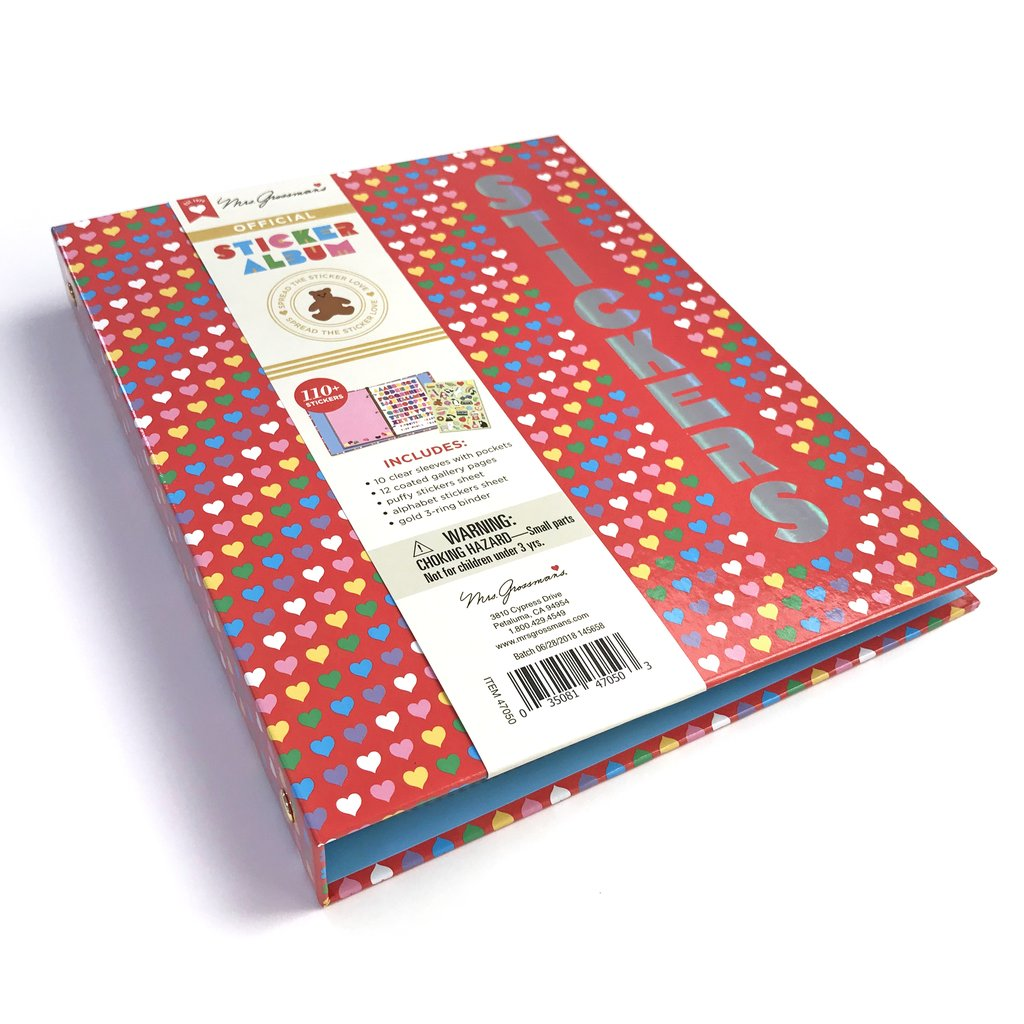Binder sticker album with red background and multicolored many hearts