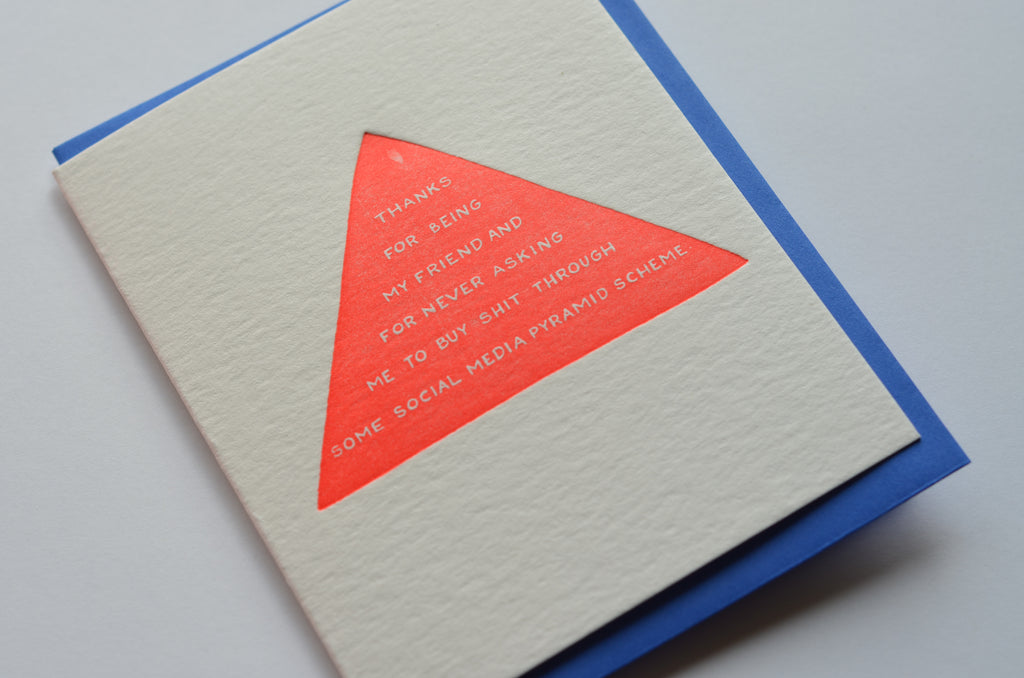 Social Media Pyramid Scheme | Letterpress Card