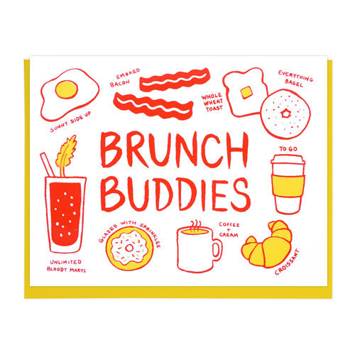 White greeting card with yellow envelope featuring selection of brunch foods in red and yellow