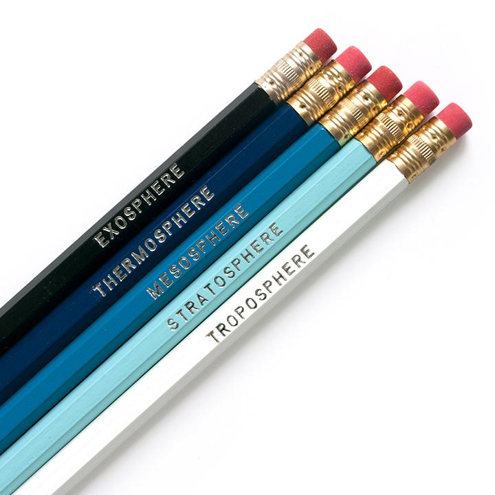 Dark blue to white ombre pencil set with atmosphere terms imprinted