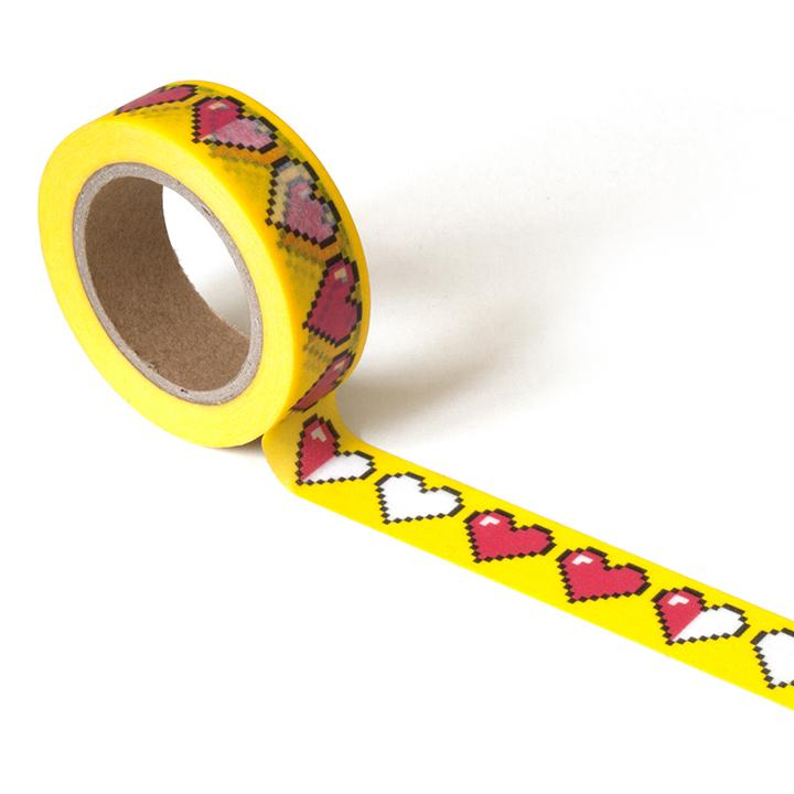 Yellow washi tape with 8-bit hearts in red and white