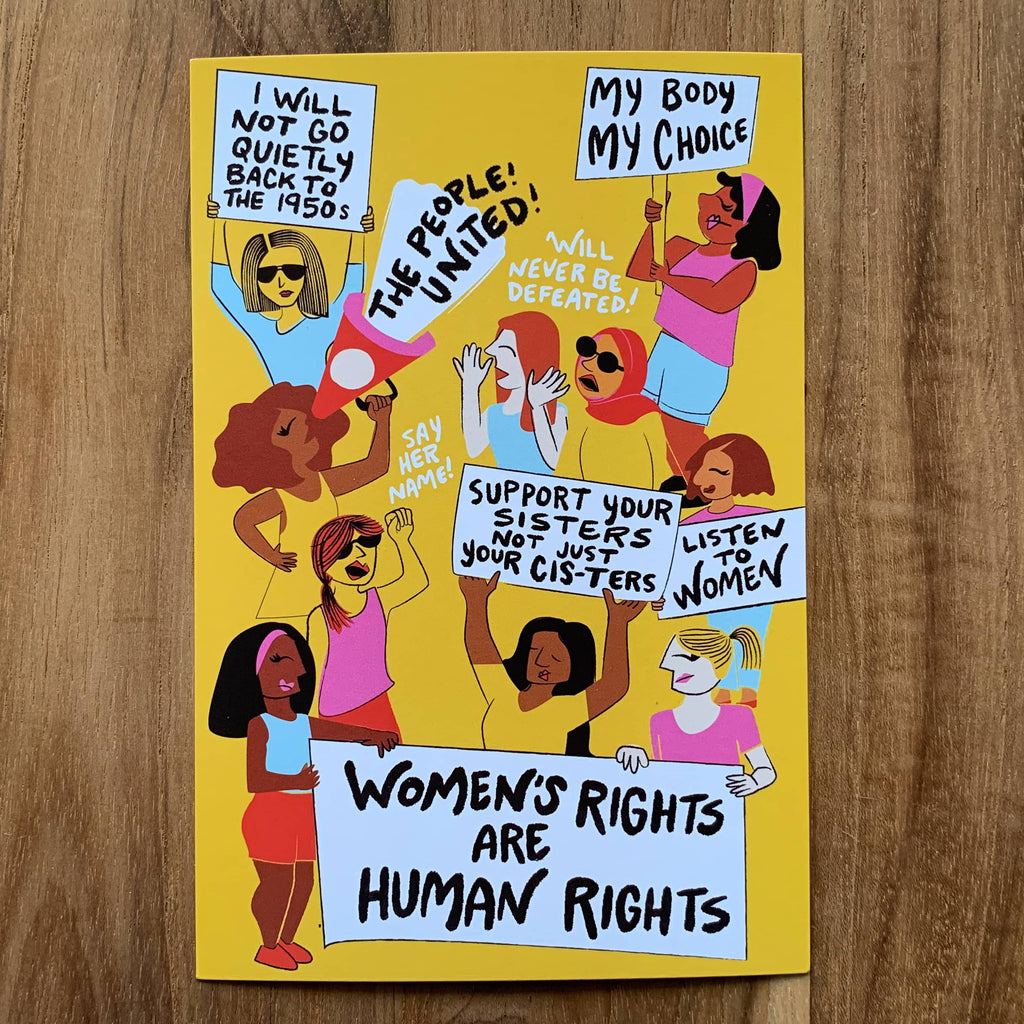 Vibrant protest postcard campaigning for women's rights