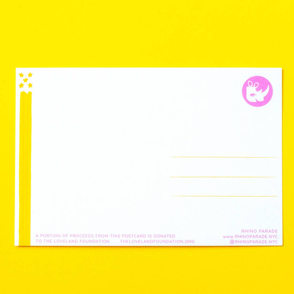 back of postcard. white back ground with three yellow lines