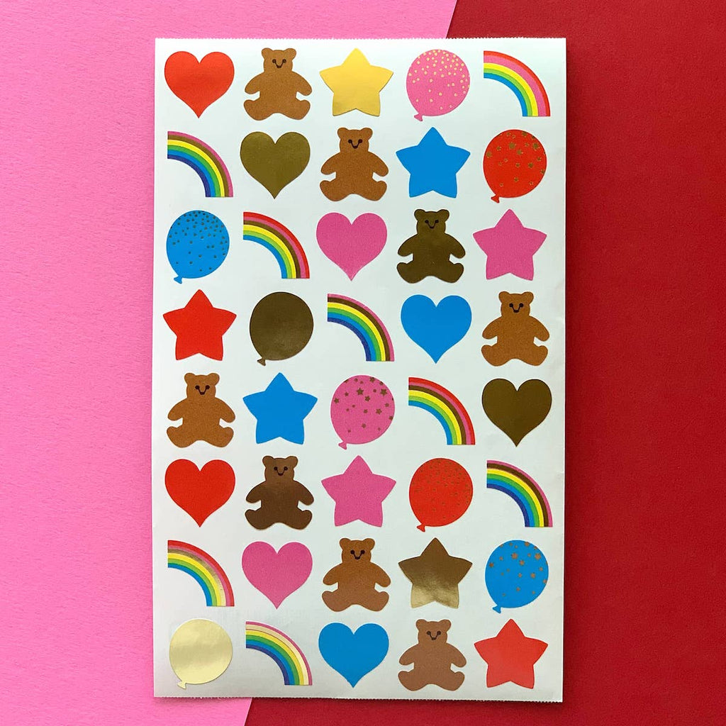 Image of sticker sheet that includes small bears, hears, stars and rainbows
