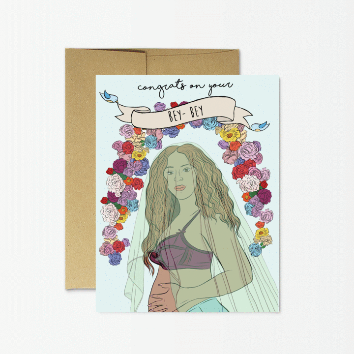 Baby shower card with blue background, arch of flowers, and depiction of Beyoncé