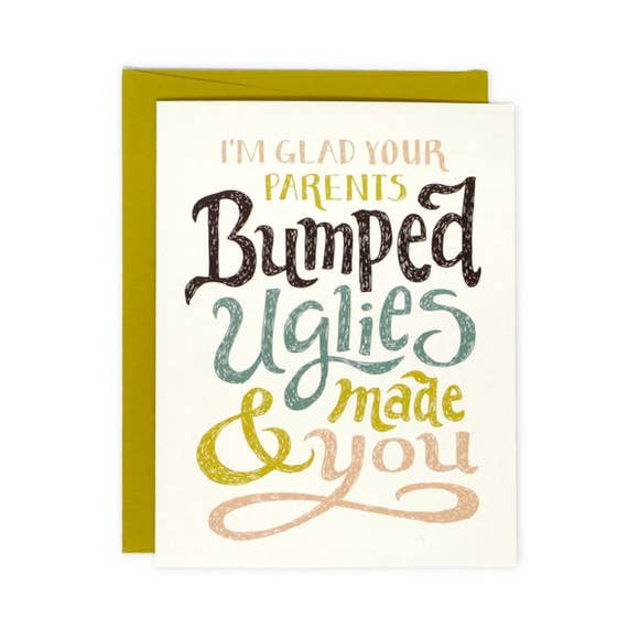 Baby shower card with bumping uglies phrase