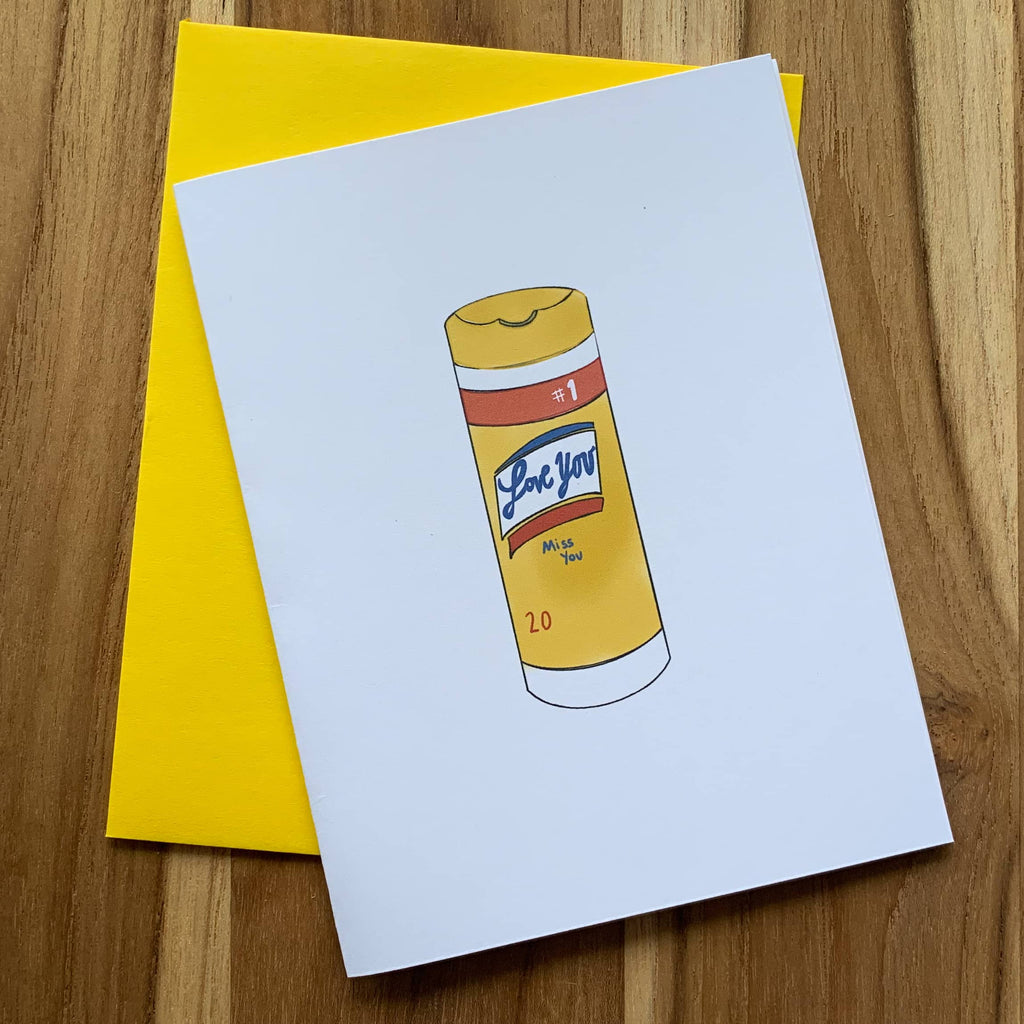 Greeting card with drawing of Lysol wipes on front