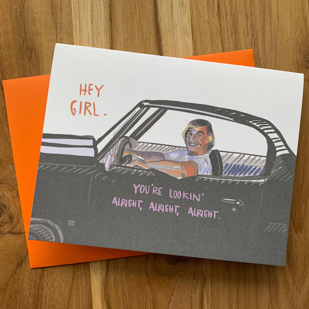 greeting card with artists rendition of Matthew McConaughey's character from Dazed and Confused