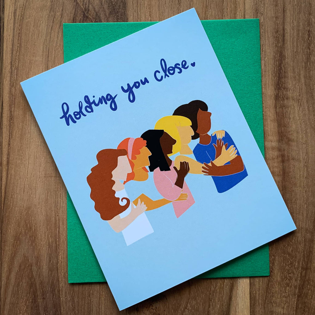 Holding You Close Sympathy Card with green envelope