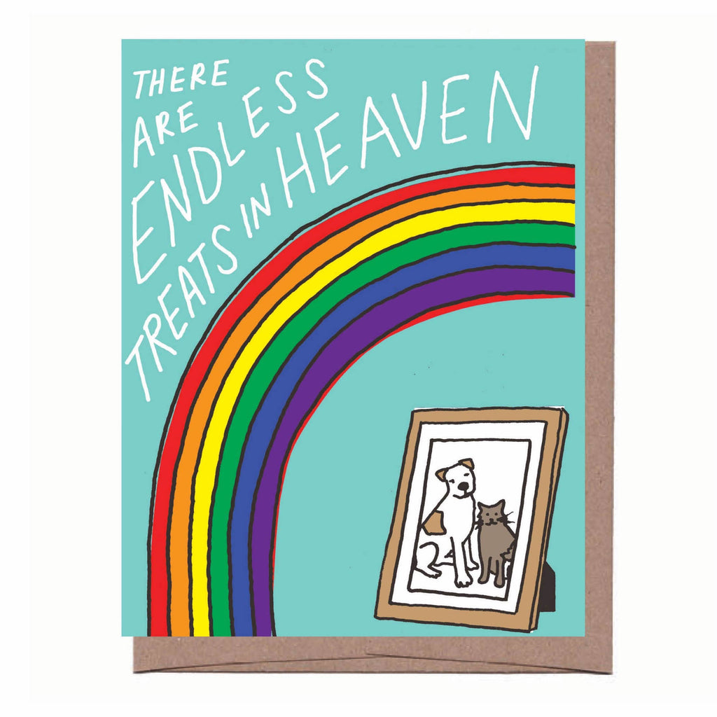 Card with teal background, bright rainbow, framed picture of dog and cat with sympathy message