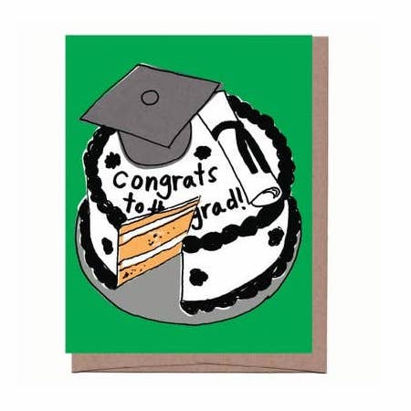 Scratch & Sniff Cake Graduation Card. White care with black frosting on green background