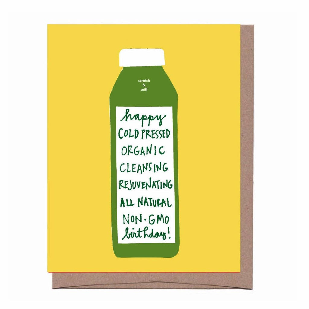 scratch and sniff birthday card with green juice bottle on yellow back ground