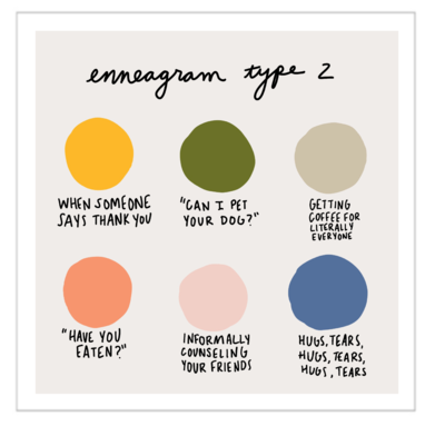 Color Dot Enneagram Type 2 | Art Print