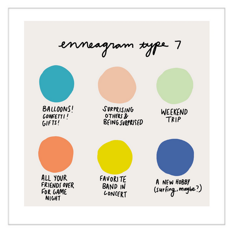 Color Dot Enneagram Type 7 | Art Print